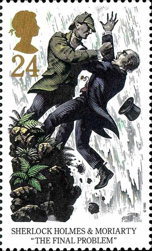 Briefmarke der britischen Post zum vermeintlichen Ende des Meisterdetektivs und seines Widersachers (aus einer Reihe von fünf Briefmarken)